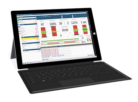 Tablet com informações de sobre monitoramento de simulador