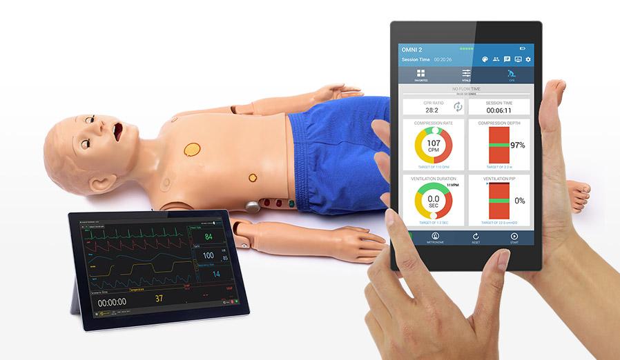 Interface do OMNI 2 com simulador e tablet de monitoramento